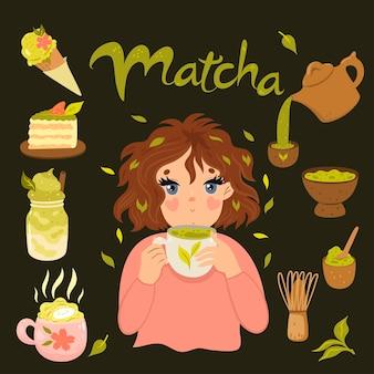 Zielona herbata matcha. śliczna dziewczyna pije herbatę matcha.