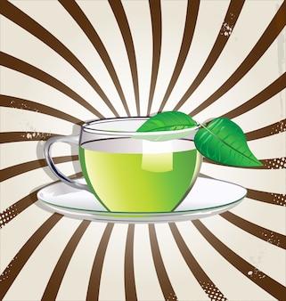 Zielona herbata retro tło
