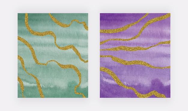 Zielona i fioletowa tekstura pędzla akwarela ze złotymi brokatowymi liniami odręcznymi