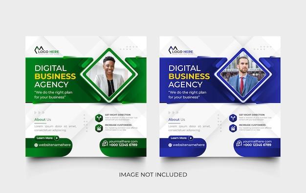 Zielona i niebieska agencja marketingu cyfrowego post w mediach społecznościowych i zestaw szablonów banerów internetowych