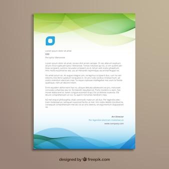 Zielona i niebieska broszura firmowa o falistych kształtach