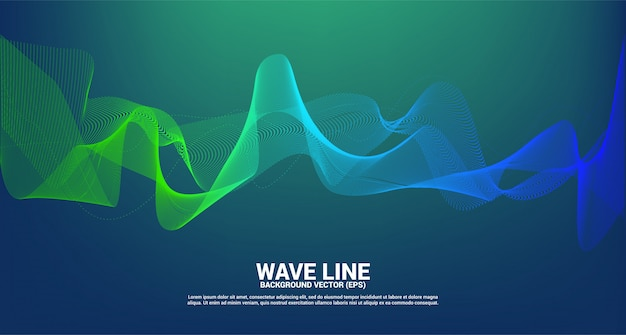 Zielona i niebieska krzywa fali dźwiękowej na ciemnym tle. element dla tematu technologii futurystycznego wektoru