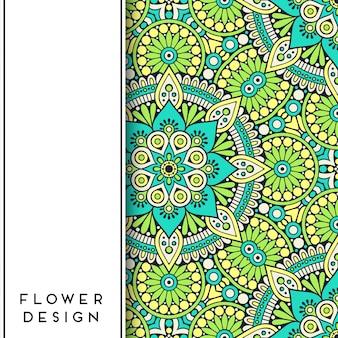 Zielona i niebieska mandala kwiatowa