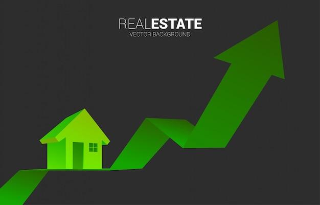 Zielona ikona domu 3d z rosnącym wykresem.