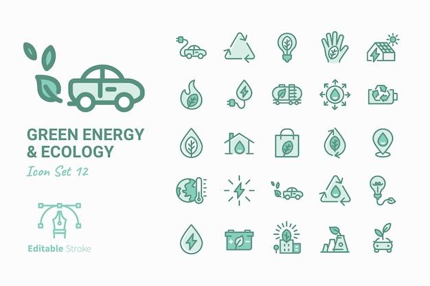 Zielona ikona energii i ekologii kolekcja ikon wektorowych vol.12