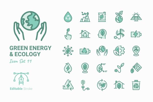Zielona ikona energii i ekologii kolekcja ikon wektorowych