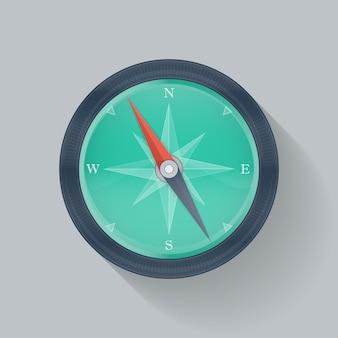 Zielona ikona kompasu. ilustracja wektorowa