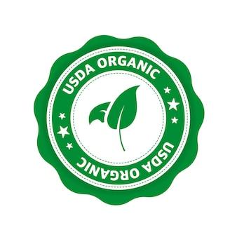 Zielona ikona logo ikona etykiety symbol ekologiczny bio eko produkt naturalny wegetariańska zdrowa żywność