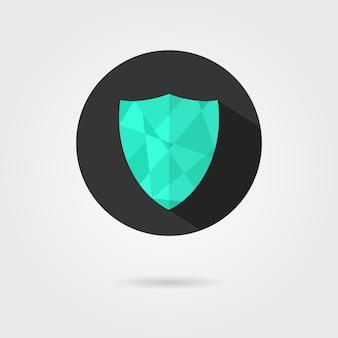 Zielona ikona tarczy na czarnym kółku z cieniem. koncepcja obrony, ikona bezpieczeństwa, tarcza herbowa, załącznik antywirusowy. na białym tle na szarym tle. płaski styl modny nowoczesny projekt logotypu ilustracji wektorowych
