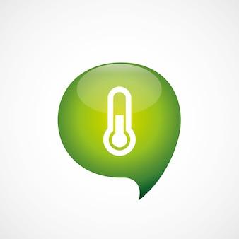 Zielona ikona termometru myślę symbol bańki logo, izolowana na białym tle