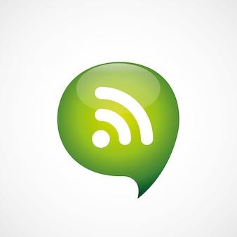 Zielona ikona wifi myśleć symbol bańki logo, na białym tle