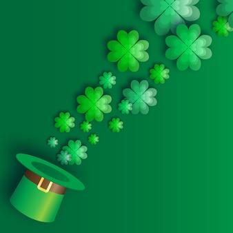Zielona ilustracja dzień świętego patryka z kapeluszem i koniczyną.
