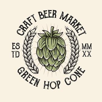 Zielona ilustracja logo chmielu w stylu vintage