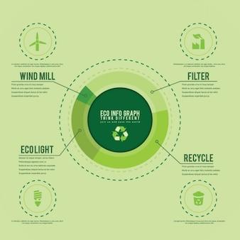 Zielona infografika szablon