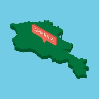 Zielona izometryczna mapa kraju armenia ze wskaźnikiem na niebiesko