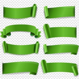 Zielona jedwabna wstążka na przezroczystym tle z gradientową siatką
