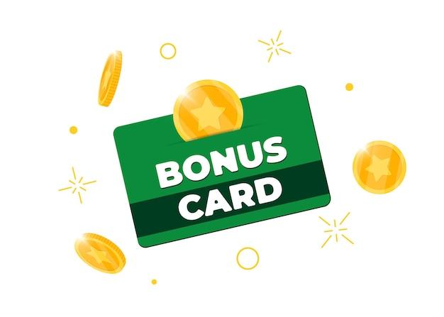 Zielona karta bonusowa programu lojalnościowego. zakup procent zwrotu firmy obsługi klienta znak. zbieraj punkty i złote monety symbol zwrotu gotówki. ilustracja na białym tle wektor eps