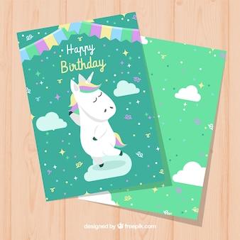 Zielona karta urodzinowa z jednorożca