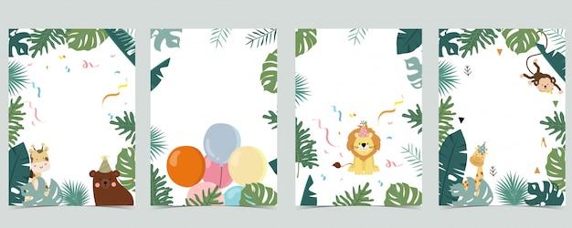 Zielona kolekcja tła safari z małpą, niedźwiedziem, żyrafą.
