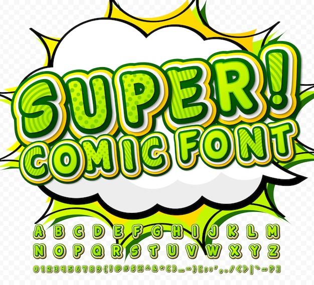 Zielona komiksowa czcionka o wysokiej szczegółowości
