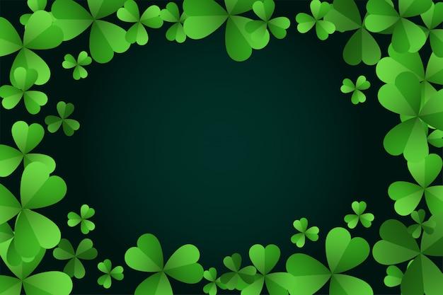 Zielona koniczyna opuszcza st patricks dnia tło