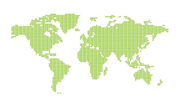Zielona kropkowana mapa świata