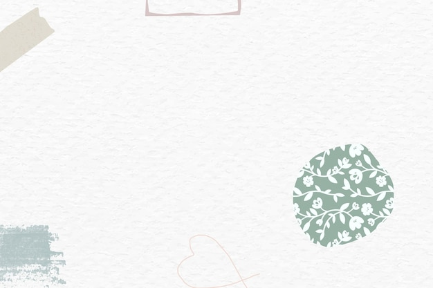 Zielona kwiecista abstrakcja z białego papieru teksturowana tapeta społeczna