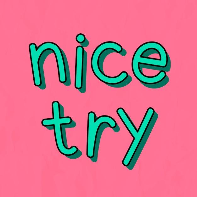 Zielona ładna próba typografii na różowym tle