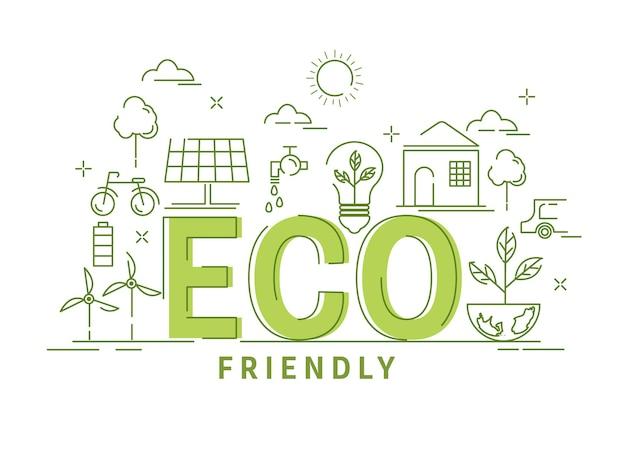 Zielona linia art eco friendly elementy na białym tle.