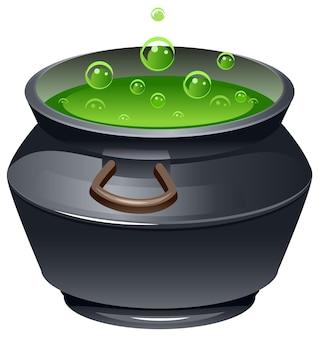 Zielona magiczna mikstura w kociołku na białym tle