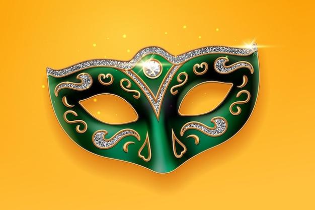 Zielona maska colombina ozdobiona diamentami