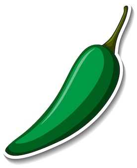 Zielona naklejka chili na białym tle