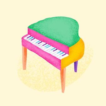 Zielona naklejka fortepianowa ilustracja instrumentu muzycznego