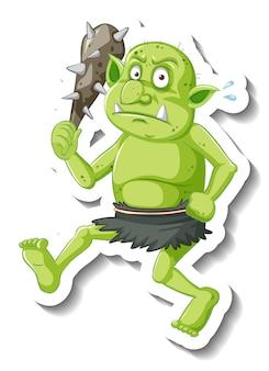 Zielona naklejka z postacią z kreskówki goblina lub trolla