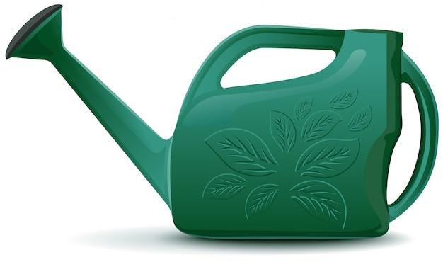 Zielona plastikowa konewka ogrodowa
