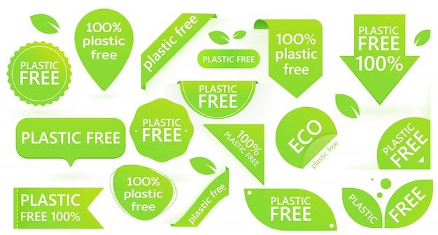 Zielona plastikowa plakietka. zanieczyszczenie środowiska. eco.