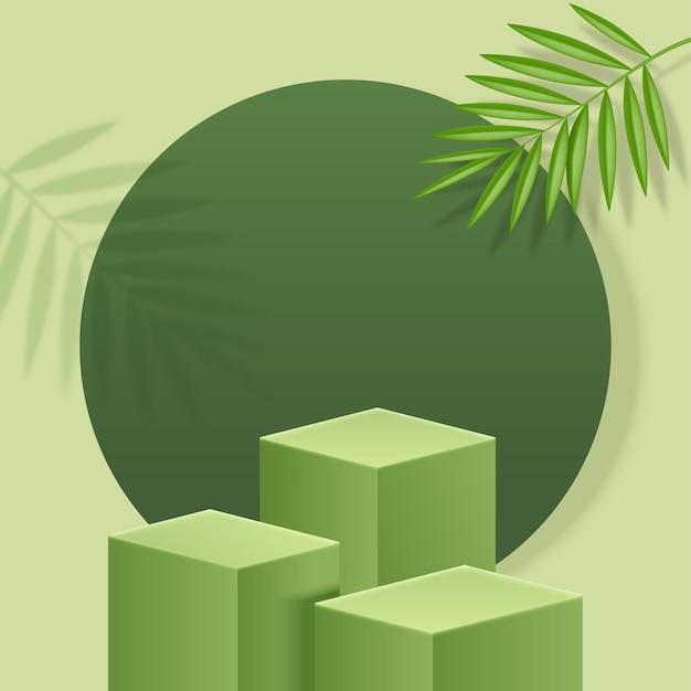 Zielona platforma do ekspozycji produktów z liściem