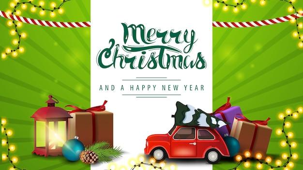 Zielona pozioma pocztówka z prezentami świątecznymi