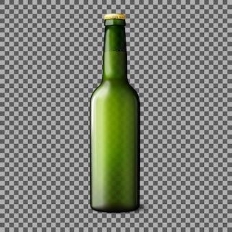 Zielona przezroczysta realistyczna butelka piwa