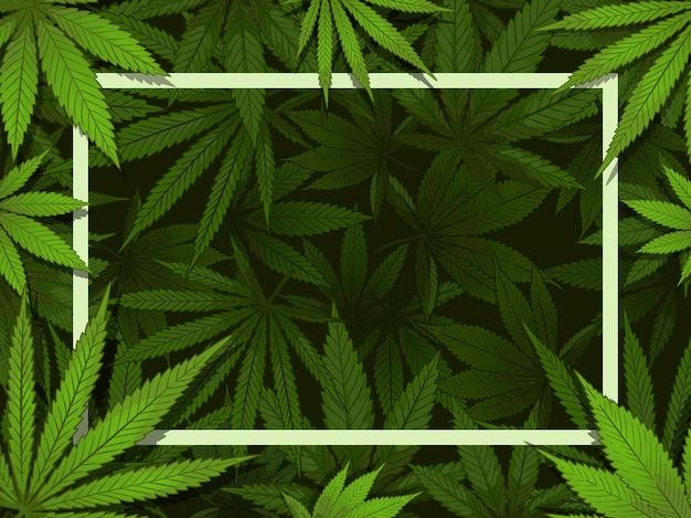 Zielona ramka z konopi. obramowanie liści marihuany, leki i ilustracja dekoracji konopi