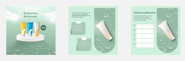 Zielona realistyczna kropla wody kosmetyczny szablon postu w mediach społecznościowych na tle wyświetlania produktu