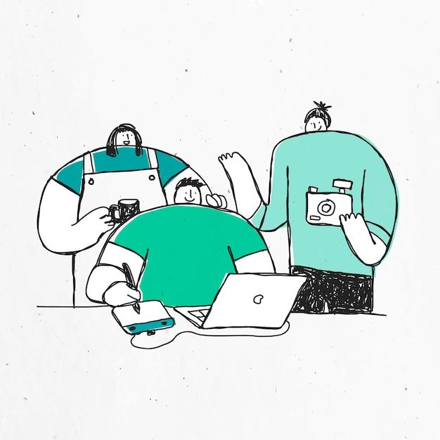 Zielona ręcznie rysowana produkcja z doodle art design