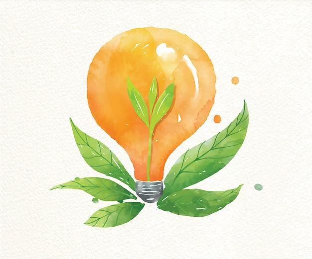 Zielona roślina energetyczna rośnie wewnątrz żarówki