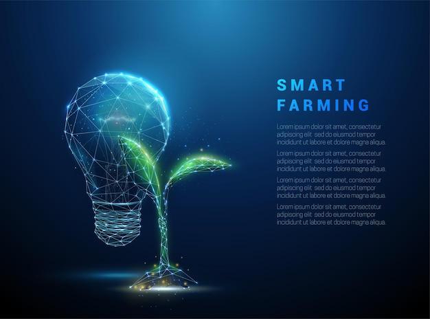 Zielona roślina kiełkuje w pobliżu niebieskiej żarówki. koncepcja biotechnologii. projekt w stylu low poly.