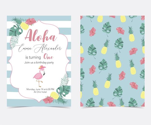 Zielona różowa karta zaproszenie z palmy, ananas, hibiskus, flaming, liść banana i kwiat