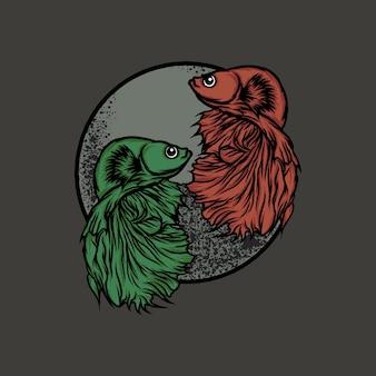 Zielona ryba betta i pomarańczowa ilustracja ryby betta