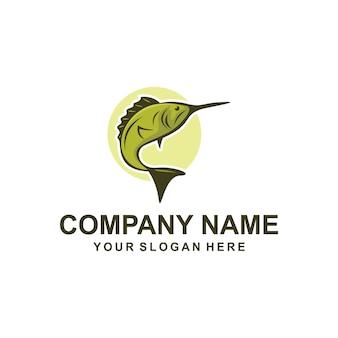 Zielona ryba logo wektor