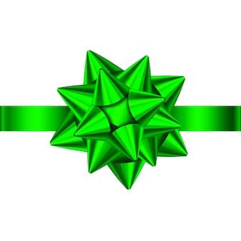 Zielona satynowa wstążka prezent i łuk na białym tle