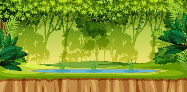 Zielona scena dżungli