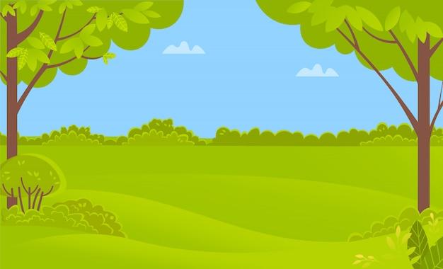 Zielona sceneria z drzewami i krzakami, lasowy wektor